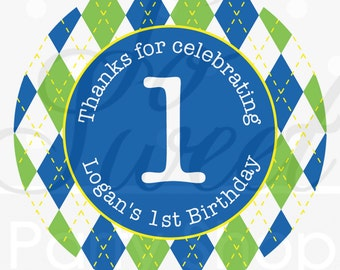 24 Boys 1st Birthday Stickers - Party Favor Labels - Argyle - Golf Party - Personalized Stickers