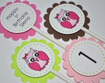 12 Owl Birthday Cupcake Toppers- Girls Birthday Party Decorations