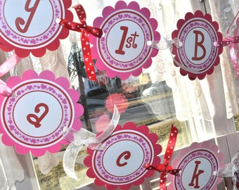 Valentine Birthday Banner - Valentine's Day Banner - February Birthday - Heart Birthday Banner