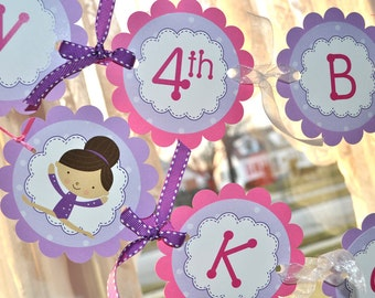 Gymnastics Birthday Banner - Happy Birthday Banner - Gymnastic Birthday Party Decorations - Girls Birthday Party Decorations