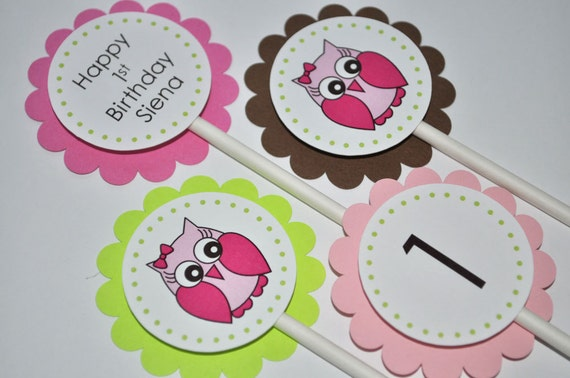 12 Owl Birthday Cupcake Toppers Girls Birthday Party Decorations by