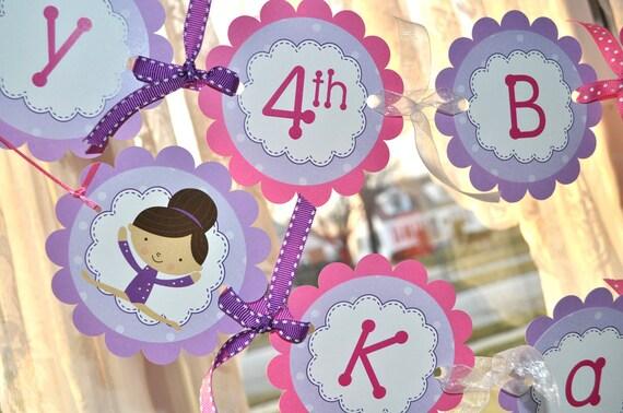 Gymnastics Birthday Banner - Happy Birthday Banner - Gymnastic Birthday Party Decorations - Girls Birthday Party Decorations