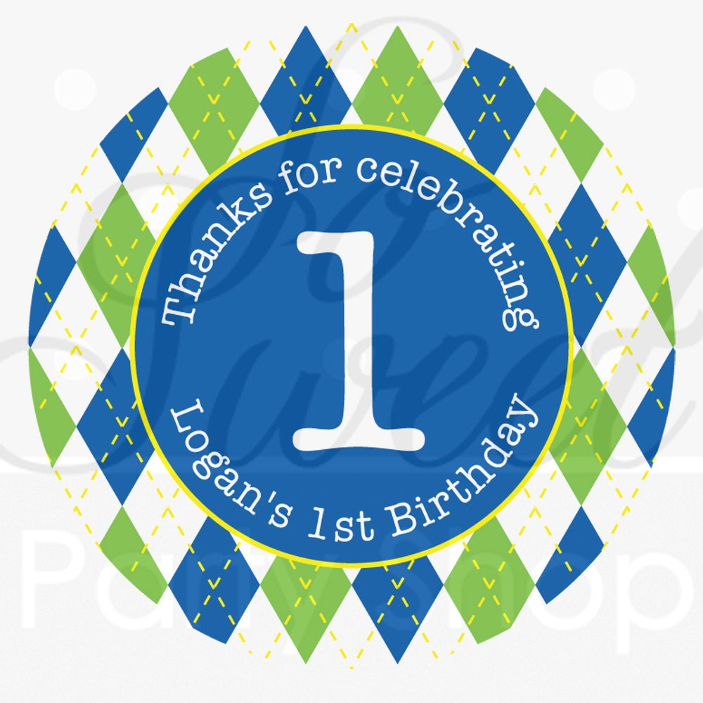 24 Boys 1st Birthday Stickers Party Favor Labels Argyle