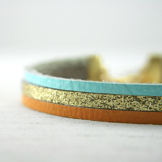 leather bracelet in orange, aqua, and glittery gold - gold bracelet jewelry