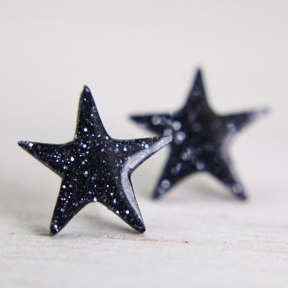 star earrings in sparkly charcoal - sparkly star post earrings - sterling silver post