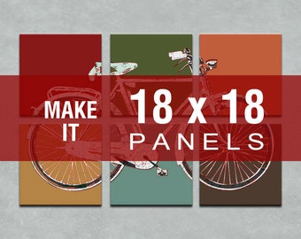 Make it 18x18 - Bicycle Map Six Panel Canvas Giclee