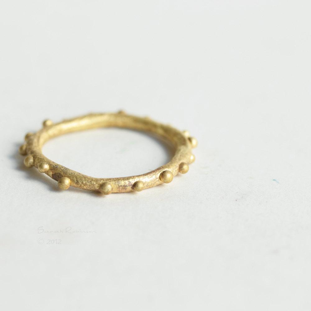 Little Bubbles Brass Ring T14 Organic Look