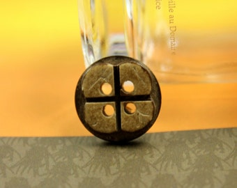 Flower Wooden Buttons - Emboss 4 Petals Flower Coconut Buttons, 0.59  inch (10 in a set)