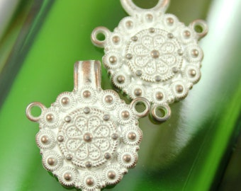 HOOK And EYE Fasteners - Silvery White and Patina Color Complicated Gothic Wheel Cloak Clasp Fasteners. 2 Pairs. RARE