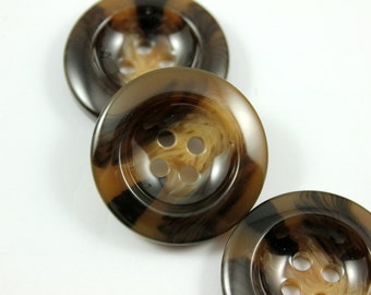 Large Resin Buttons - Lot 10 Broad Border Design Marble Taxture Brown Resin Buttons.   1.35 inch
