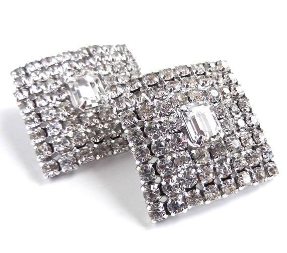 Huge Rhinestone Clip On Earrings - Silver Tone Signed Weiss Costume Jewelry  / Sparkling Squares