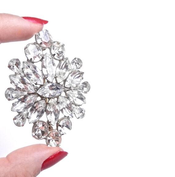 RESERVED for Sharon - Attruia Rhinestone Brooch - Vintage 1950s Silver Tone Signed Rare Designer Costume Jewelry  / Colossal Rhinestones