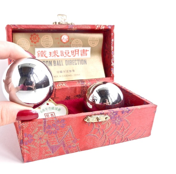 SALE - Vintage Baoding Balls - Asian Chiming Iron Shouxing Meditation in Red Box / Exercise Balls