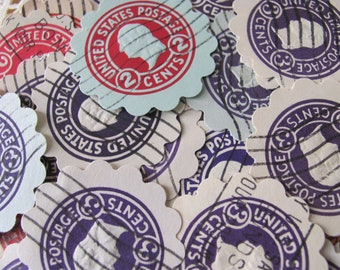 Shabby Chic 100 Vintage George Washington Stamped Envelope Scallop Paper Punches 1 1/2 inch diameter Red Purple Circles Scrapbooking