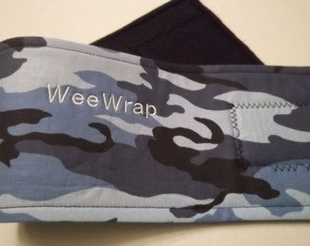 Dog Belly Band, Stop Marking with WeeWrap, Personalized, Blue Camo