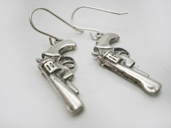 Earrings Silver Guns