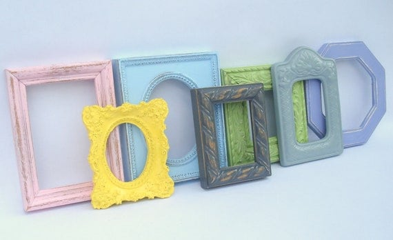 Mini Frame Collection, 7 painted miniature open gallery frames - upcycled shabby cottage chic - Paris apartment grouping