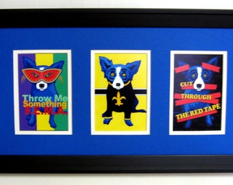 FRAMED George Rodrigue Blue Dog  Postcard Trio - BUYER'S CHOICE of Mat Color - 22 in  x 12 in