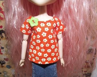 Orange with white flower shirt t-shirt for Pullip
