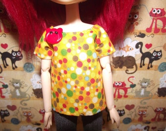 Colorful orange polka dot with bear button shirt t-shirt for Pullip