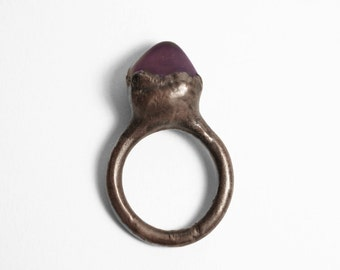 Copper Ring in Amethyst // Rough Organic Mineral Gemstone Amethyst Electroformed Cocktail Ring ( 5.5 - 6 )