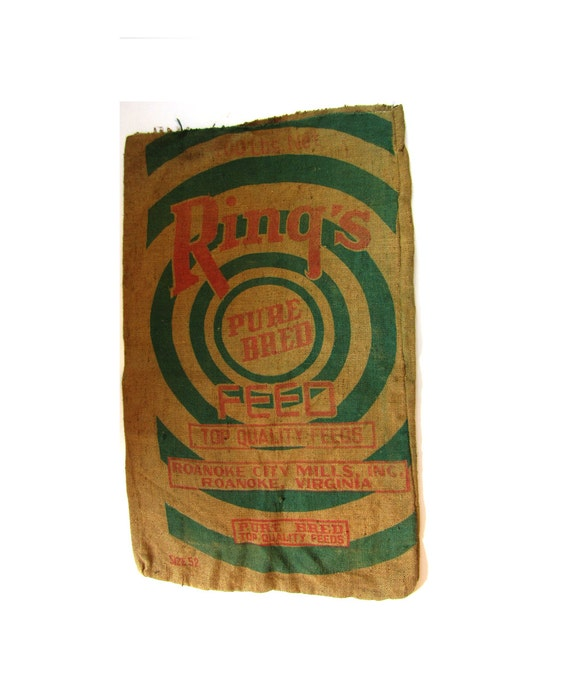 Vintage Burlap Feed Bag Gunny Sack - Ring's Top Quality Feed