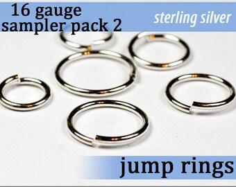 21 pcs 16g sterling sampler pack 2 assorted jump rings 16gsamp2 925 solid sterling
