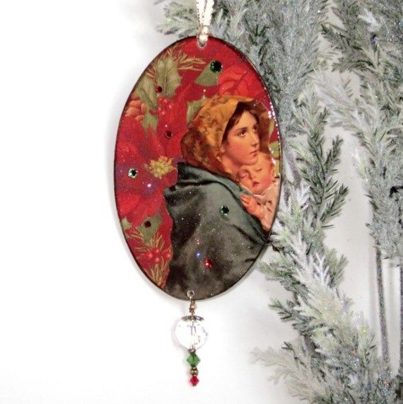 Christmas ornament religious ornament virgin mary baby by for Baby jesus christmas decoration