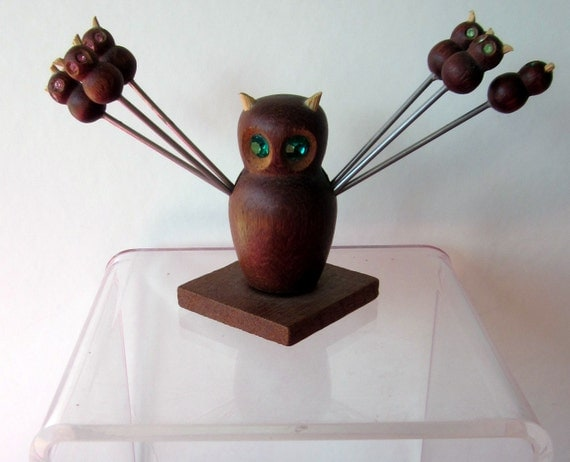 Danish Modern Teak Owl cocktail picks holder baby owls wood its a hoot so cute