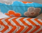 SALE New Designs   Two 18 x 18  FABRIC Both Sides Orange Zigzag and Aqua Ikat Flower