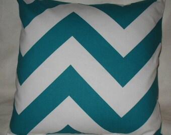 SALE SALE ONE  18 x 18 Pillow Cover Premier Prints Chevron Large Aqua  Zigzag One Left