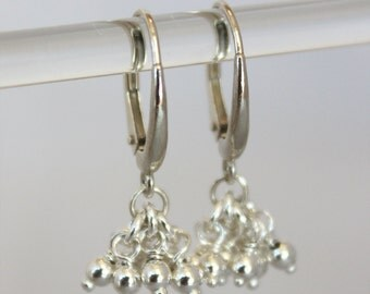 delicate ball drop earrings. tiny wire wrapped ball clusters. solid sterling silver • • teresa drop earring
