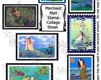 Mermaid Mail Stamp Collage Sheet