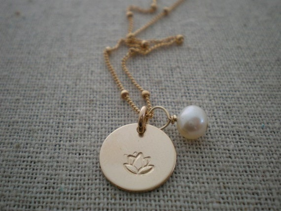 lotus flower and pearl necklace, hand stamped 14k gold filled jewelry, design stamp choice, personalized gold necklace, malisay designs