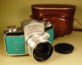 Ihagee Exakta VX camera plus Biotar lens, case with Custom lizard skin... Splendid