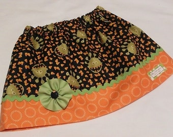 READY TO SHIP Halloween Monsters Skirt, Size 5