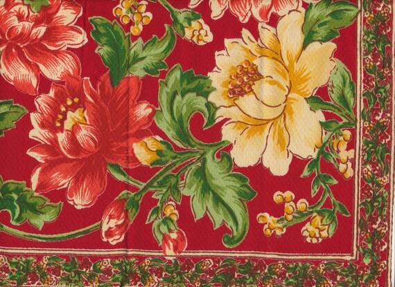 SALE - Set of 6 April Cornell Large Cotton Napkins Red Floral