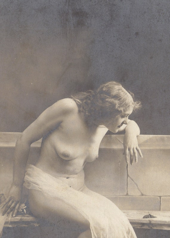 Young Woman Examines Moth Nude/Risque Image circa 1905