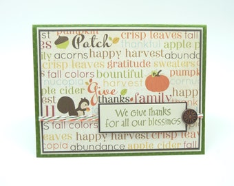 Thanksgiving Greeting Card Fancy Fall Greeting Card, Autumn Card, Give Thanks Card, Handmade Paper Greeting Card