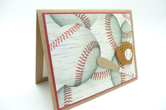 Men's Baseball Birthday Card, Birthday Card for Him, Handmade Paper Greeting Card