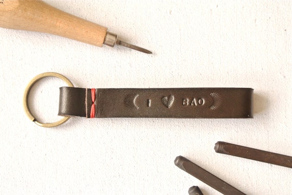 I Heart You Personalized Leather Keychain