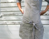 Rustic Full Kitchen Apron for Him or Her in Blue Pinstripe Ticking in The Blue and White - meyertextileco