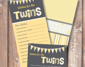 Printable Baby Shower Game - Funky Letters Twins - Wishes for Baby - INSTANT DOWLOAD