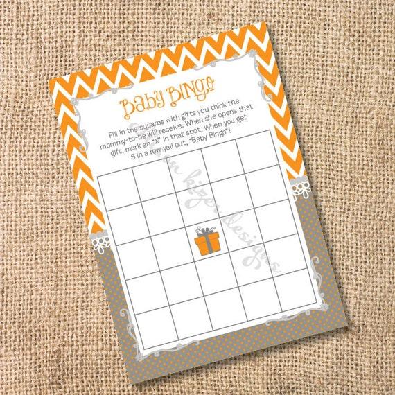 Orange and Gray Chevron Printable Baby or Bridal Bingo Game - INSTANT DOWLOAD