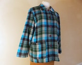 Plaid Jacket 49er style vintage Blue green button up Cozy David Paul NY  L
