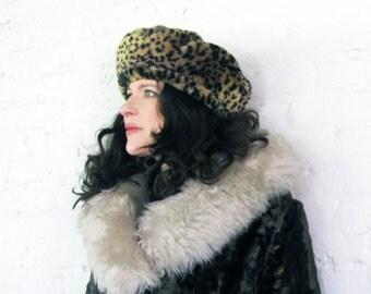 faux fur LEOPARD beret CUTE  COZY