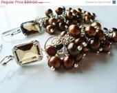 50% OFF SALE Brown Pearl Earrings, Chocolate Brown, Cluster Pearls, Cluster Earrings, Cascading Brown Pearls, Freshwater Pearls, Chocolate