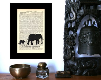 Following Mummy Elephants Art Print on Antique 1896 Dictionary Book Page