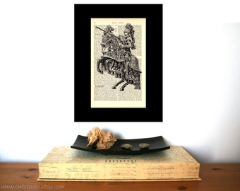 Medieval Knight Vintage Art Print on Antique 1896 Dictionary Book Page