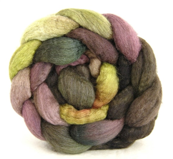 spinning fiber, combed top, Mixed bfl silk, hand painted roving